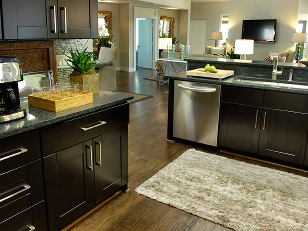 Espresso Kitchen Cabinets Dark Hardwood Floor