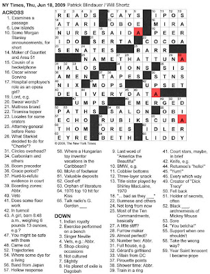 The New York Times Crossword in Gothic: 06.18.09 -- Æ