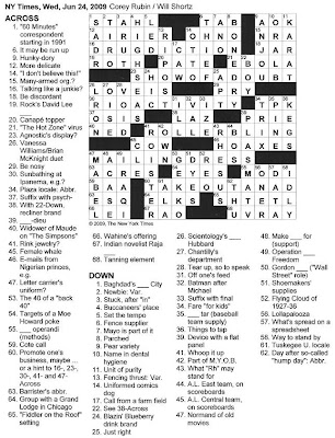 the new york times crossword in gothic june 2009