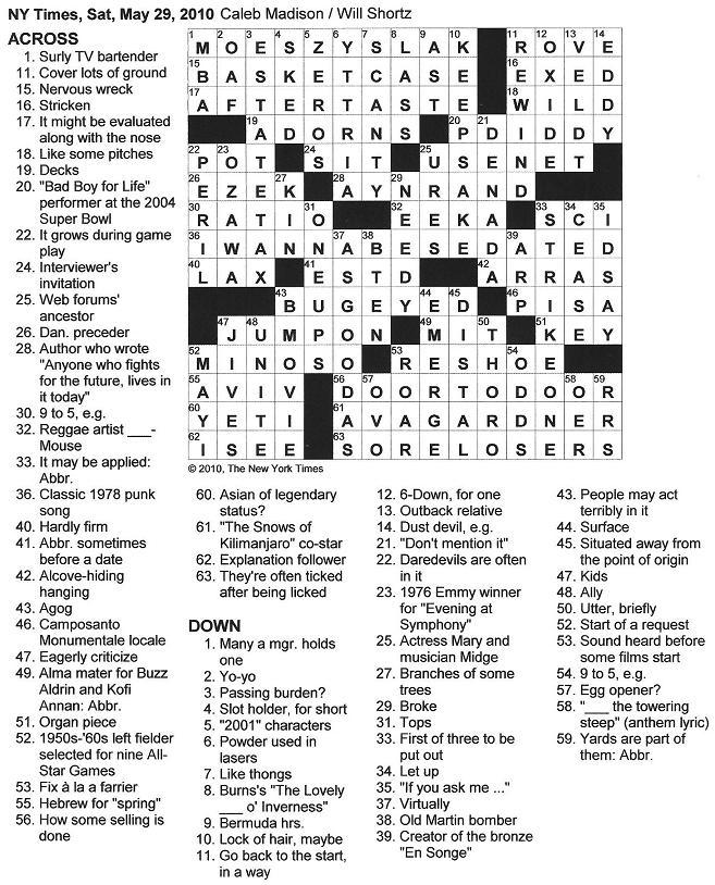 The New York Times Crossword In Gothic Zeros