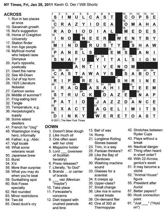 The New York Times Crossword In Gothic January 2011