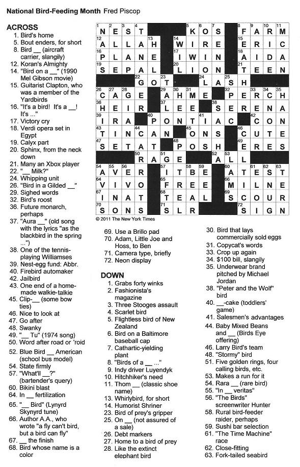 the new york times crossword in gothic: national bird-feeding month