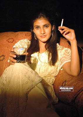 Indian Hot Actress Kausha Drinking And Smoking Photoshoot