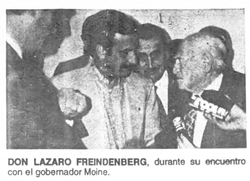 Encuentro entre don Lázaro Freidenberg y el entonces gobernador Mario Moine