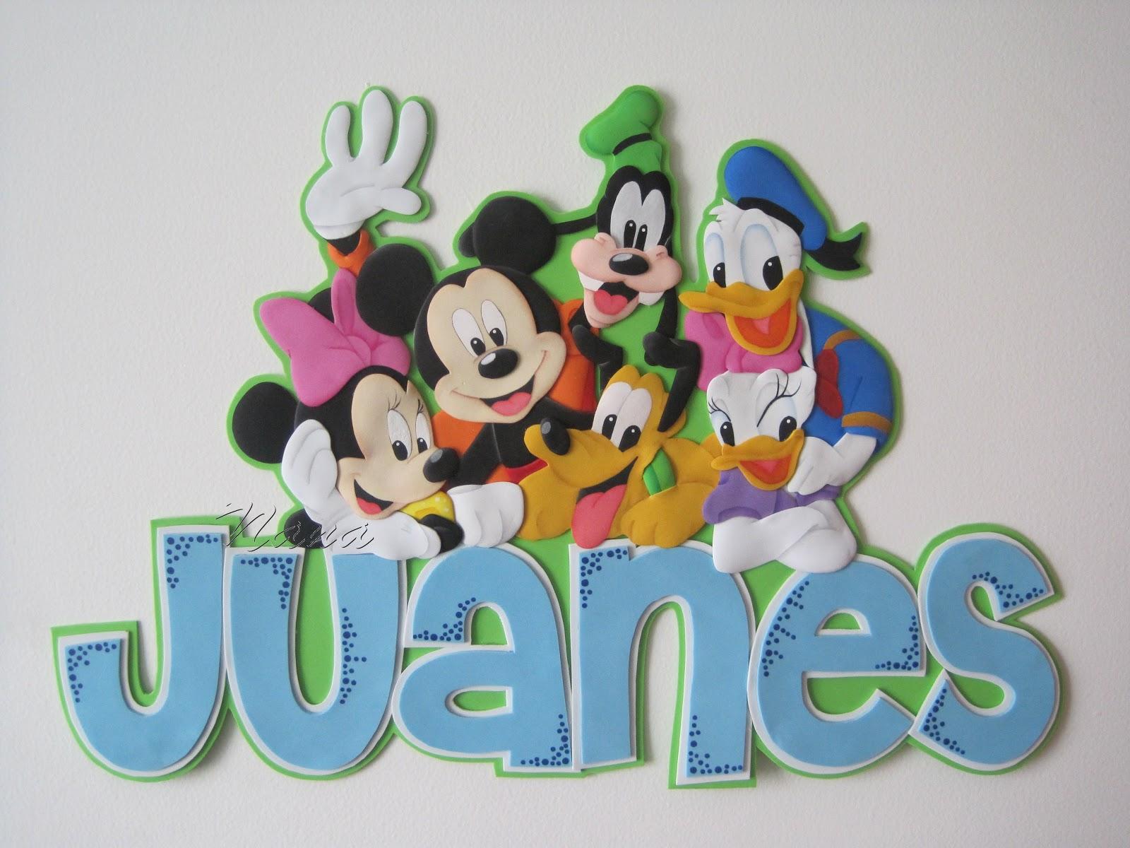 El Taller de Nana: Nombre con Aplique de Mickey Mouse y sus Amigos