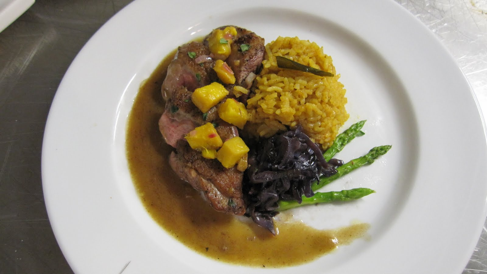 Pan Seared Duck ( pink on the inside) topped with mango salsa ...