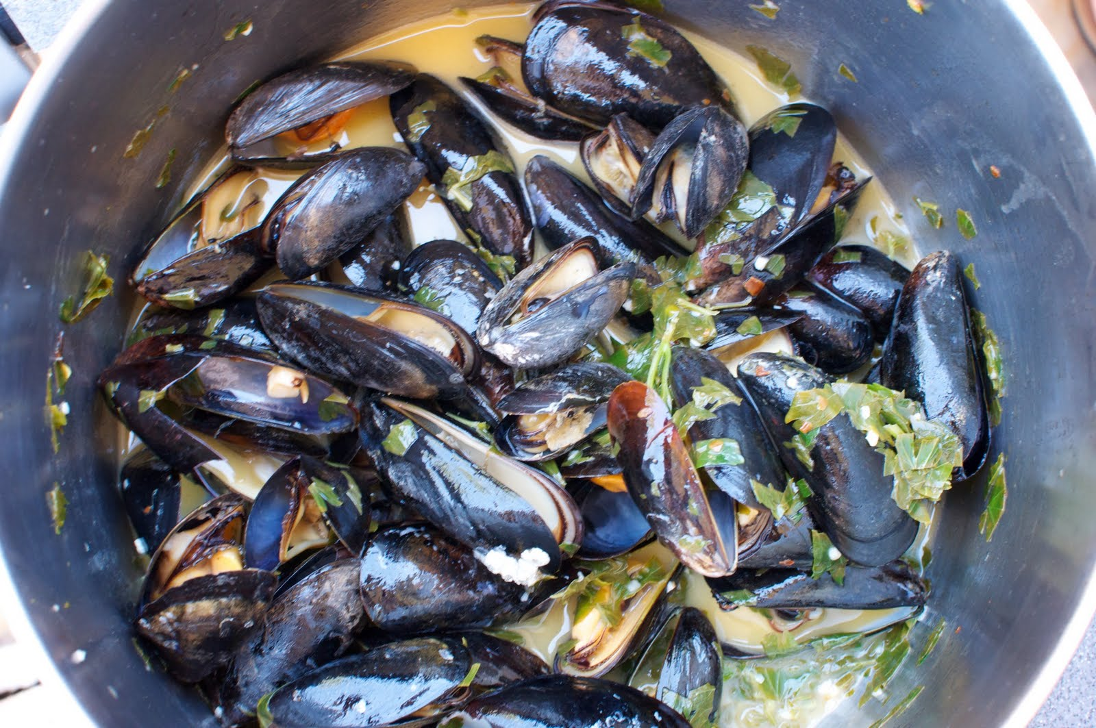 Grilled Mussels in Awesome Sauce