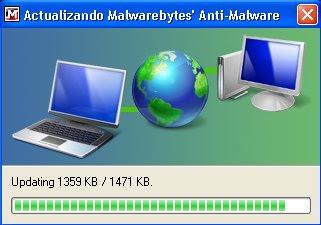 Actualizando Malwarebytes' Anti Malware, paso esencial para restablecer nuestra página de inicio.