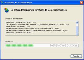 Sistema operativo instalando los archivos de actualización para luego poder instalar el msn.