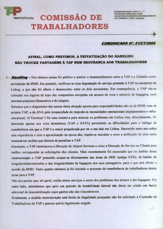 Comunicado 01/2008 (frente)