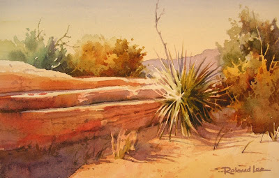 Roland Lee painting of Yuccas in Snow Canyon