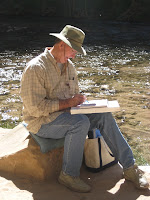 Artist Myron Laub in zion National Park