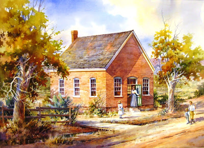 Roland Lee watercolor painting of old historic Bloomington school house