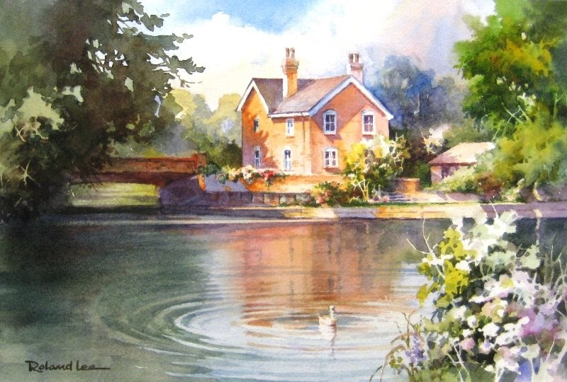 Roland lee travel sketchbook watercolor painting of for Watercolor cottages