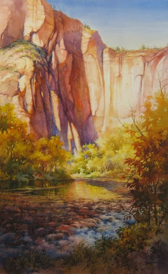 Solace at Sinawava - Watercolor painting of Zion National Park by Roland Lee