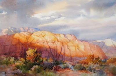 Roland Lee painting of southern Utah red cliffs