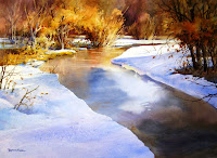 Roland Lee painting of an icy river