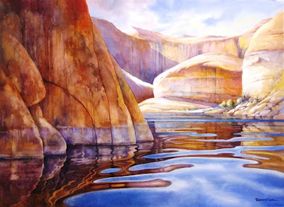 Roland Lee painting of Cliffs at Lake Powell