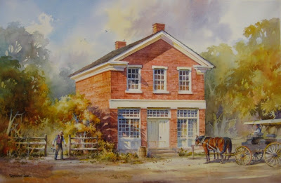 Painting of James Henry Rollins and Joseph Smith's Red Brick Store in Nauvooo Illinois by Roland L. Lee