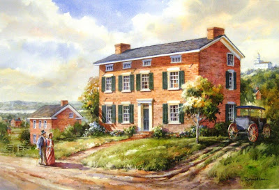 The Ellis Mendenhall Sanders House in Nauvoo, original painting by Roland Lee