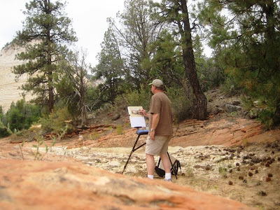 Roland Lee painting en plein air in Zion National Park