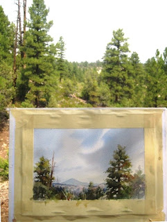 Roland Lee plein air painting from his cabin at Zion