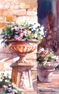 Flowers and Stone painting by Roland Lee