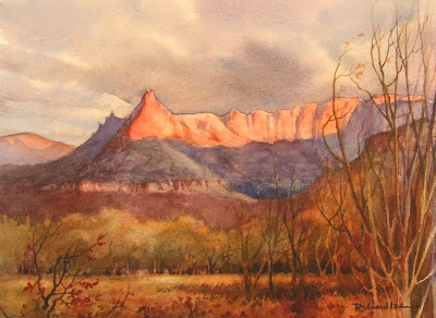 Last Light on the Eagle Crags painting by Roland Lee