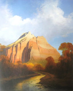 Oil painting of Zion National Park by Jim Jones donated to Southern Utah University