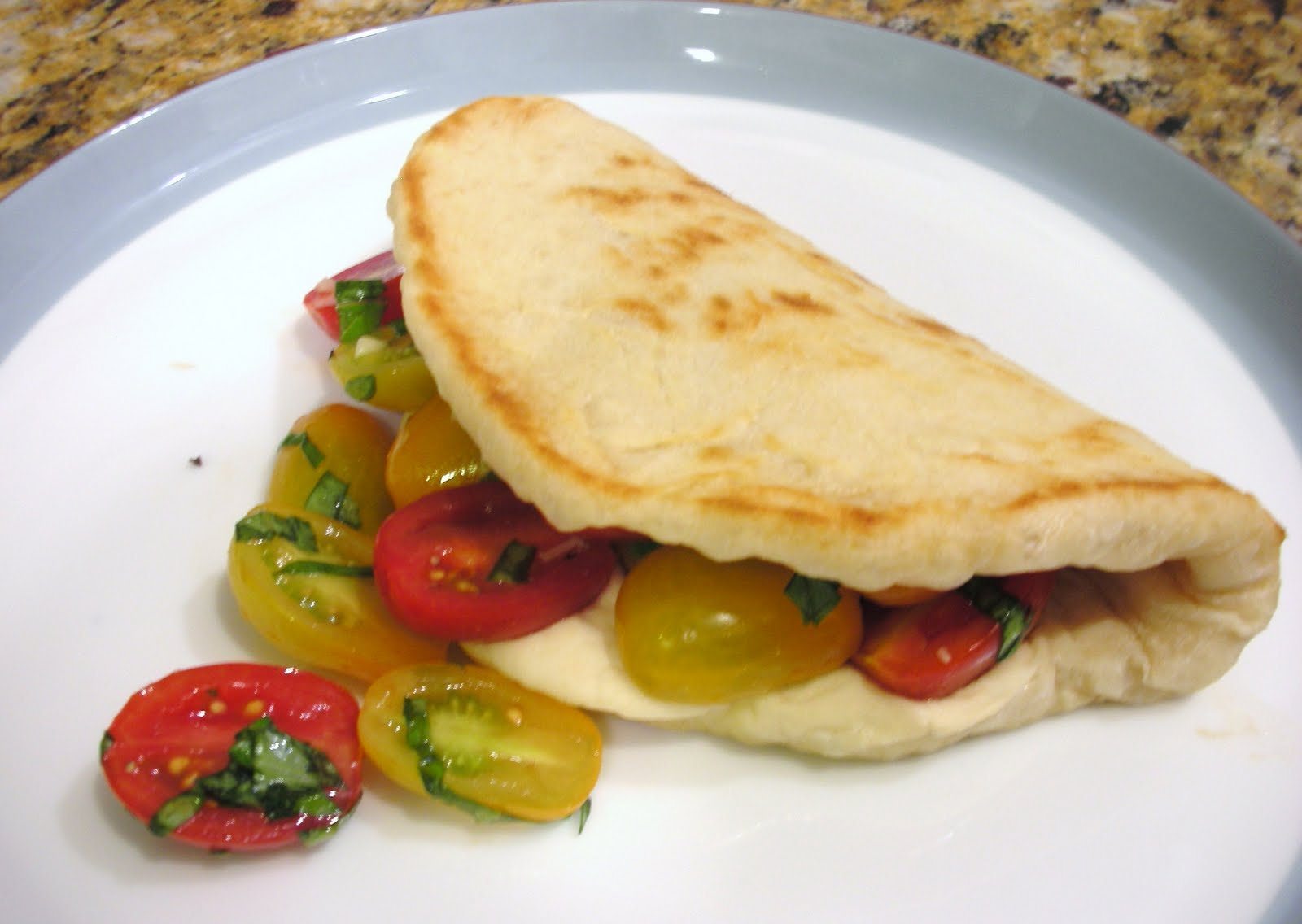 Everyday Vegan: Piadini with Cherry Tomatoes and 'Smoked Mozzarella'