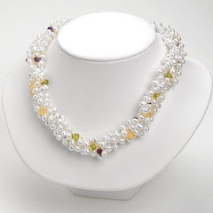 Pearl Necklace with Gemstone Briolets