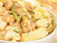 Tofu com Cogumelos e Alho-Poró