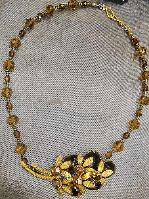 Amber Crystal Beads and Amber Rhinestone Centerpiece
