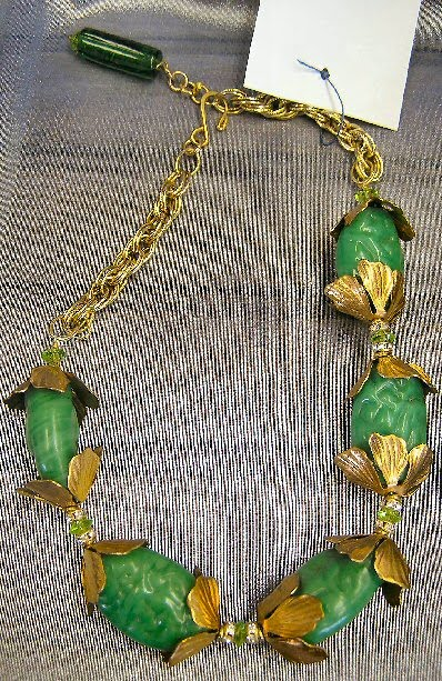 Green Art Glass Beads with Brass Leaf Caps and Brass Chain