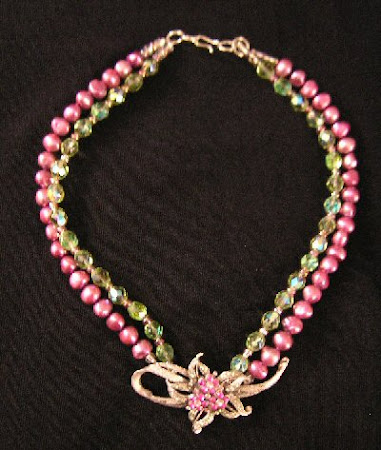 Necklace with Rose Pearls, Green Crystal Beads & Vintage Rhinestone Centerpiece