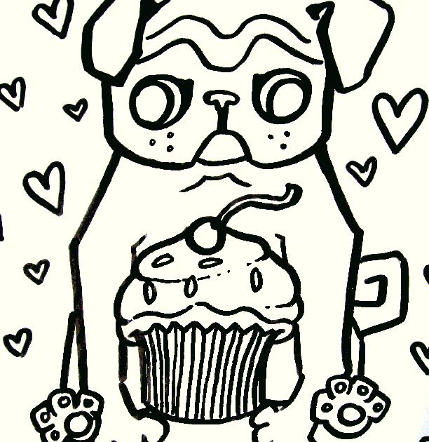 Pugs 39 N Cupcakes Pug Coloring