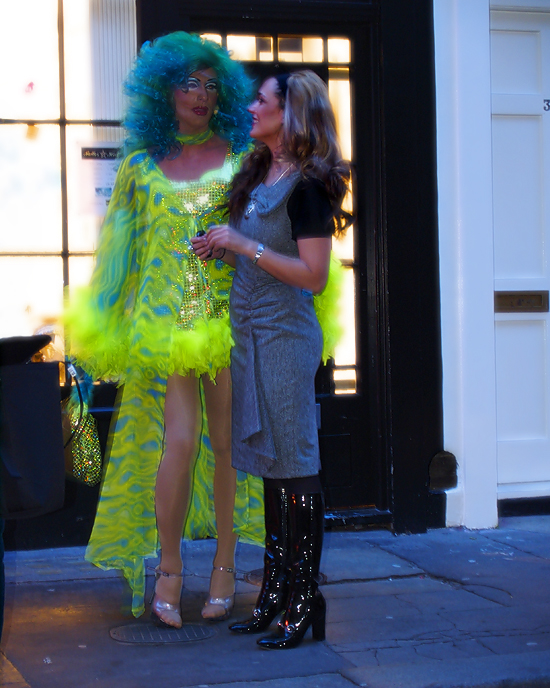 Cassie Sumner and a drag queen, Wags boutique, London - photo by Joselito Briones