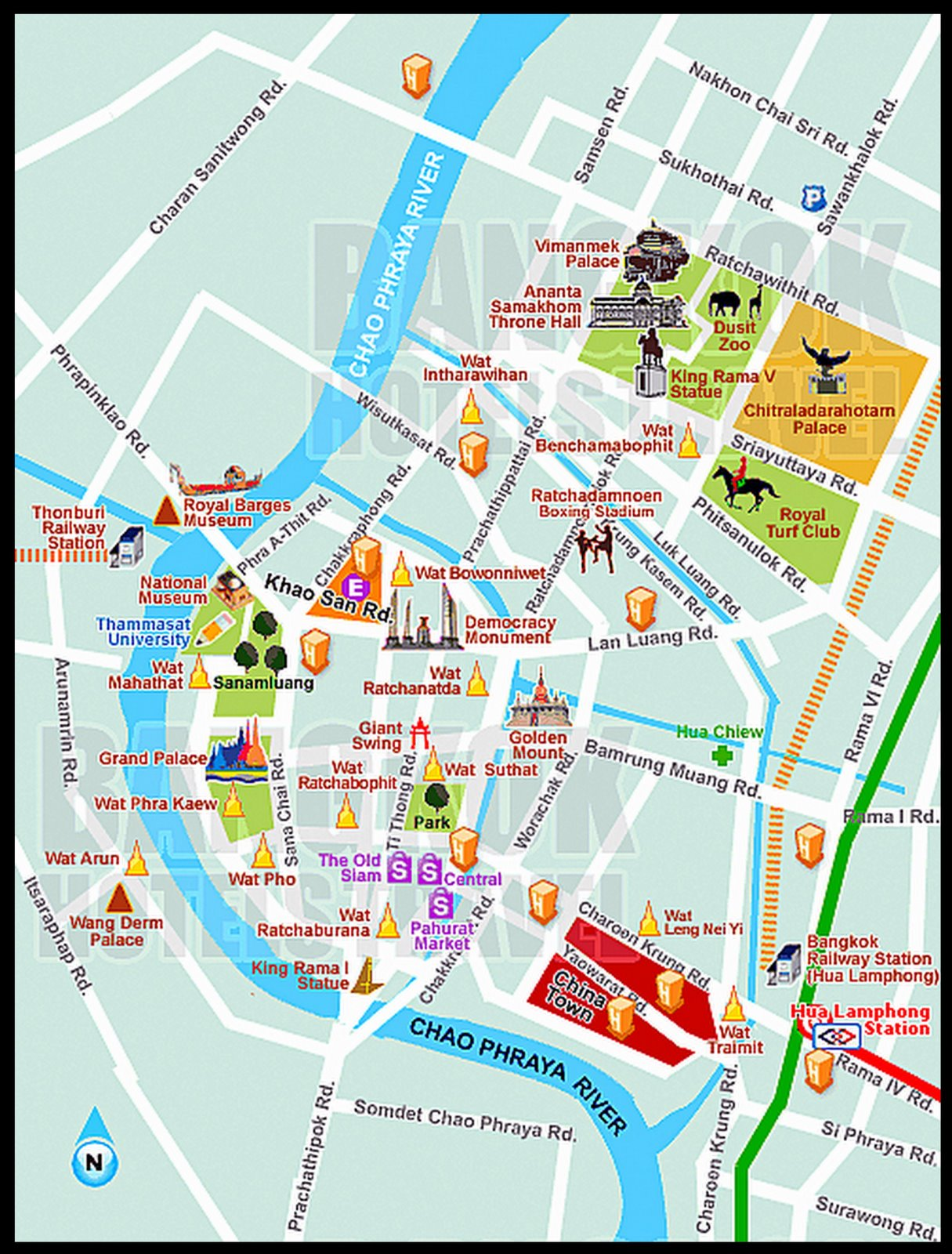 Complete Tourist Attractions Map of Bangkok Thailand – Thailand Tourist Map
