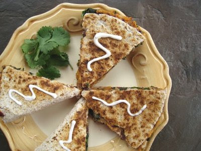 Show Me Vegan: Sweet Potato, Chard, and Mushroom Vegan Quesadillas
