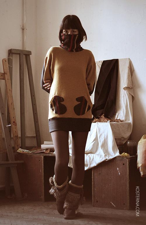 как переделать платье - свитер. переделка платья свитера.