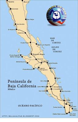 Bajanautas Mapa De La Península De Baja California - Mapa de california