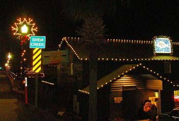 christmas lights on shem creek in the charleston lowcountry