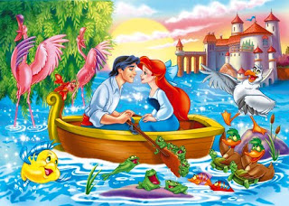 animated cartoon couple on boat