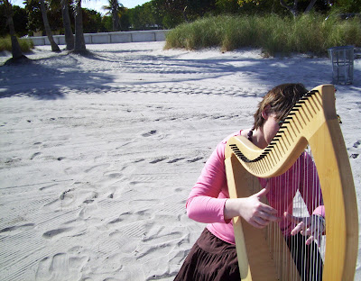 Florida Harpist on the Beach