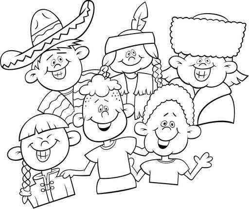 Niños del mundo para colorear - Imagui