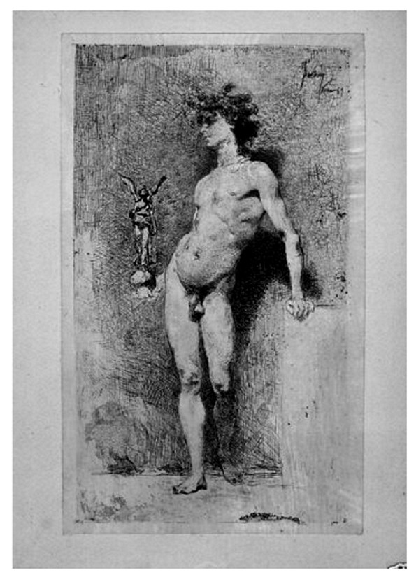 Caption: Standing Male Nude Youth. Artist: Unknown, Italian School (Signed ...