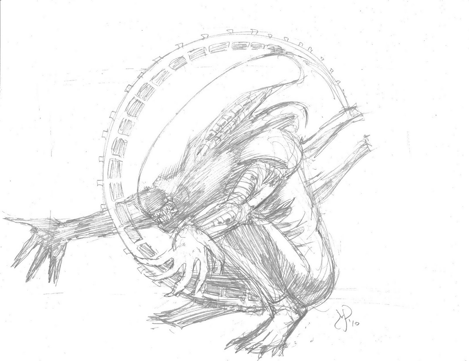 Xenomorph art for Xenomorph coloring pages
