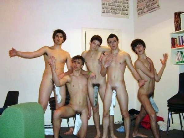 Frat Boys Stripped Down To Their Socked Cocks