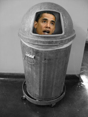 obama in a trash can