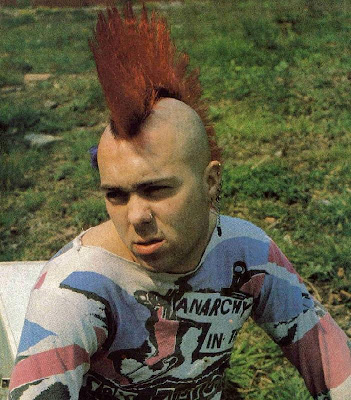 Wattie Buchan punk Mohawk hairstyle. Buchan wears his hair in what is